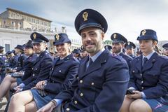 Men and women representatives State forces, Italian police. Stock Photos