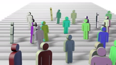 Group of symbol people running down the stairs Stock Footage