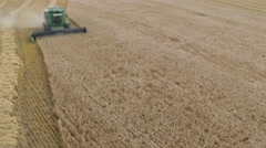 Aerial View of Grain Harvest - stock footage