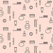 Makeup objects and products seamless pattern - stock illustration