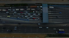 Aerial view of car on board in pay toll checking point of motorway in thailand Stock Footage