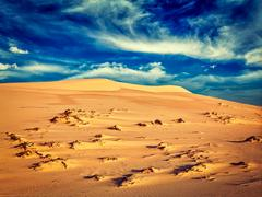 White sand dunes on sunrise, Mui Ne, Vietnam - stock photo