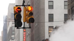 Gloomy new york city traffic light Stock Footage