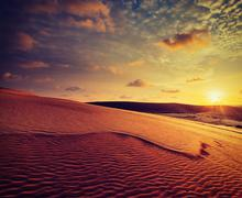 White sand dunes on sunset, Mui Ne, Vietnam - stock photo