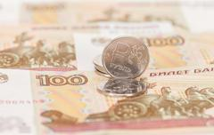 Russian currency, rouble: banknotes and coins close up - stock photo