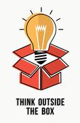 Think outside the box powerful ideas concept - stock illustration