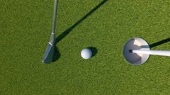 Golf. Animation of golf ball falling into a hole - stock footage