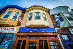 Buildings on Eastern Avenue, in Greektown, Baltimore, Maryland. Stock Photos
