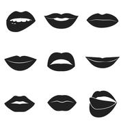 Set of glamour black lips. Beautiful female lips collection - stock illustration