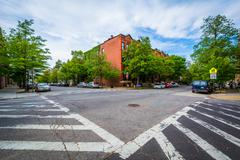 Crosswalks at the intersetion of John Street and Lafayette Avenue, in Bolton  Stock Photos
