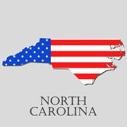 Map State of North Carolina in American Flag - vector illustration. Stock Illustration