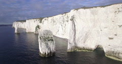 Chalk cliffs near Old Harry Rocks on Dorset coast, Isle of Purbeck, Dorset Stock Footage