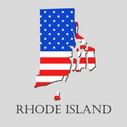 Map State of Rhode Island in American Flag - vector illustration. Stock Illustration