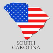 Map State of South Carolina in American Flag - vector illustration. - stock illustration