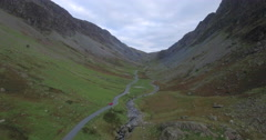Gatesgarthdale valley viewed from the Slate Mine, Honister Pass, Lake District - stock footage