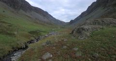 Gatesgarthdale valley viewed from the Slate Mine, Honister Pass, Lake District Stock Footage