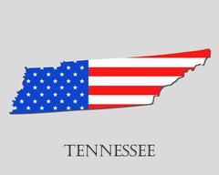 Map State of Tennessee in American Flag - vector illustration. Stock Illustration