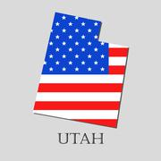 Map State of Utah in American Flag - vector illustration. Stock Illustration