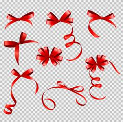 Red Ribbon and Bow Set on Transparent Background for Your Design - stock illustration