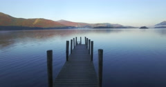 Wooden jetty at Barrow Bay landing, Derwent Water, Lake District National Park - stock footage