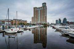 Highrise apartment building and marina at the Inner Harbor, in Baltimore, Mar Stock Photos