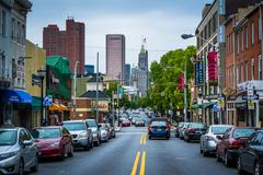 Light Street, in Federal Hill, Baltimore, Maryland. Stock Photos