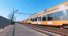 two trains going to meet each other - stock footage