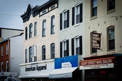 Shops on Light Street in Federal Hill, Baltimore, Maryland. Stock Photos
