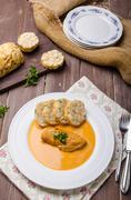 Chicken on cream with pepper season - stock photo