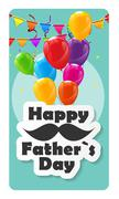 Happy Father Day Poster Card Vector Illustration - stock illustration
