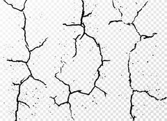 Set of vertical realistic wall cracks isolated on white transparent background Stock Illustration