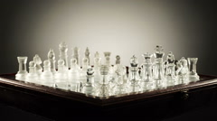 Rotating glass chess Stock Footage