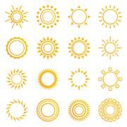 Set of vintage sunburst - stock illustration