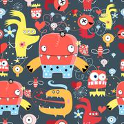 Seamless graphic pattern of amusing monsters - stock illustration