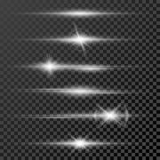 Set of glow light effect stars bursts with sparkles isolated on black Piirros