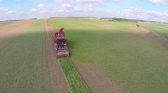 Sugar beet harvester Stock Footage