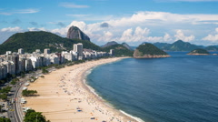 Elevated view of Copacabana beach, Rio de Janeiro, Brazil, South America Stock Footage
