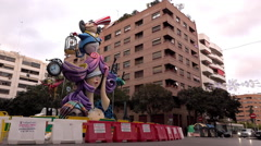 Sculpture for Fallas Holiday celebration in downtown Valencia 4k Stock Footage