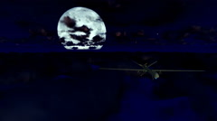 Military drone cruising above clouds with full moon Stock Footage