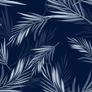 Tropical seamless monochrome blue indigo camouflage background with leaves and Stock Illustration
