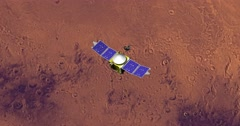 Top view of Maven spacecraft above Mars at 180 degrees longitude. - stock footage