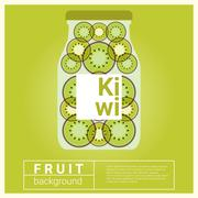 Infused water fruit recipe with kiwi - stock illustration