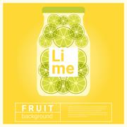 Infused water fruit recipe with lime - stock illustration