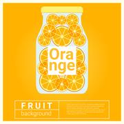 Infused water fruit recipe with orange - stock illustration