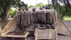 Selling Soviet uniforms of soldiers and officers Stock Footage
