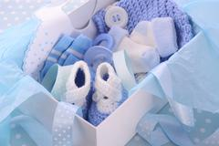 Its a Boy Blue Baby Shower Gift Box Stock Photos