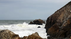 Ocean Waves Against Rocky Headland Pacifica California Slow Motion - stock footage