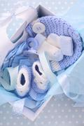 Its a Boy Blue Baby Shower Gift Box - stock photo