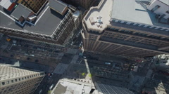 Aerial Of NYC Panning Downward View of Building - stock footage