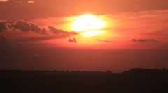 Sunrise On Red Sky - Countryside Scene Background Time-Lapse Stock Footage